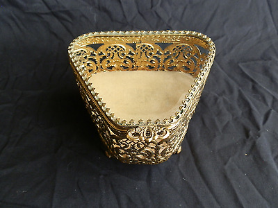 Vintage Gold Tone Ormolu Filigree Beveled Glass Vanity Jewelry Box Casket
