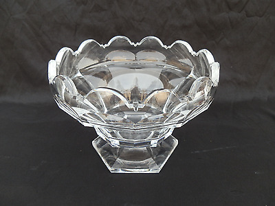 Antique French Empire Period Cut Crystal Centerpiece Footed Fruit Bowl Baccarat
