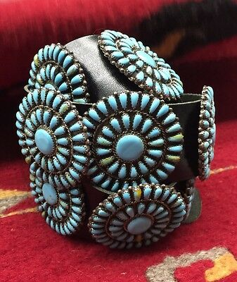 Handmade Navajo Sterling Silver Turquoise Concho Belt By Mathilda Benally