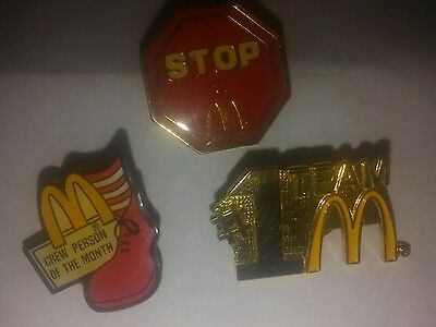 Lot 3 Vintage McDonald's Employee Lapel Pins-Stop at M-Crew Person Month-#1 Team