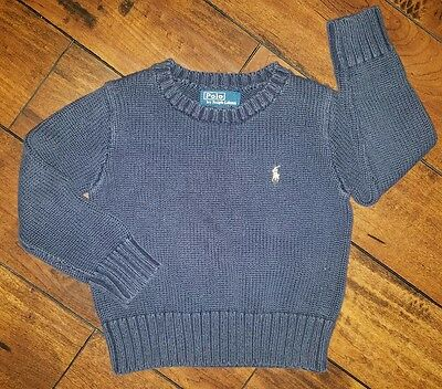 RALPH LAUREN Polo Boy's Navy Blue Pullover Sweater Size 2T