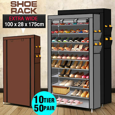 50 Pairs 10 Tiers Portable Steel Stackable Shoe Rack Storage Cabinet Organiser