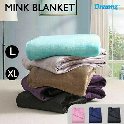 Heavy Mink Coral Fleece Blanket Throw Queen King Size 320GSM Warm Soft X Large