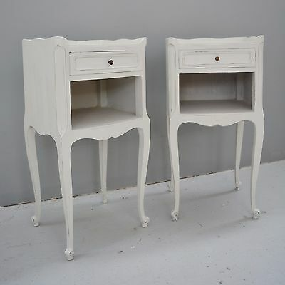 Pair of French Painted Shabby Chic Bedside cabinets / Bedside tables