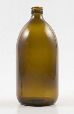 20 x 1L Amber Glass Bottles - sirop shape - 28mm ROPP screw neck and caps