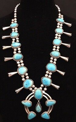 Stunning Native American Silver Turquoise Squash Blossom