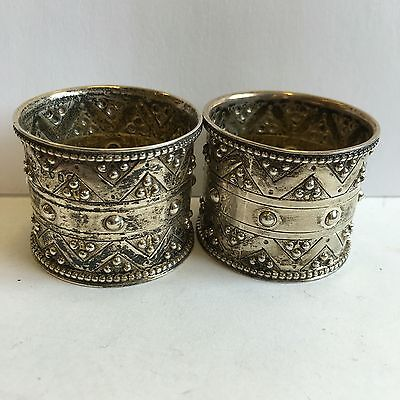Pair Of Antique Victorian Solid Silver Napkin Rings William Edwards 1874 London