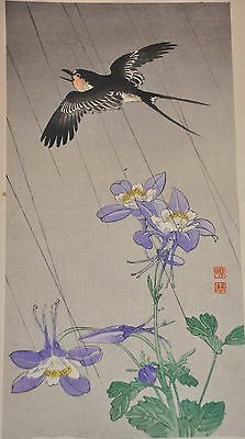 Original Gyosui Suzuki Woodblock Print Hummingbird and Columbine in Rain
