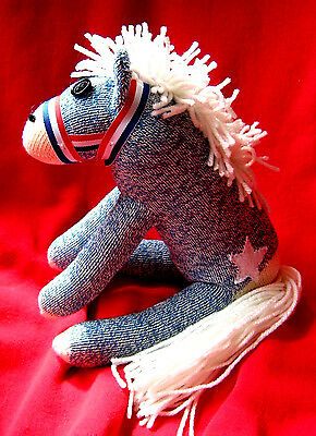 Rockford Red Heel  Sock Monkey Patriotic Americana Star  Pony - Horse Handmade
