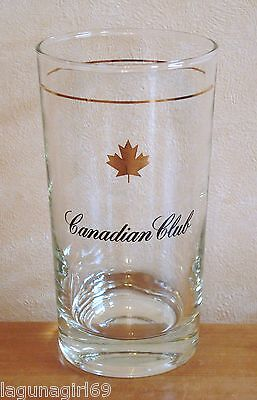 Canadian Club Whisky Maple Leaf Tall Glass Tumbler Pub Home Bar Whiskey Used