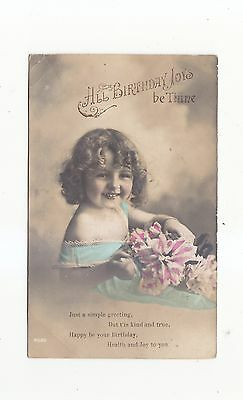Charming Postcard Head And Shoulder Pose Of A Little Girl With Flowers