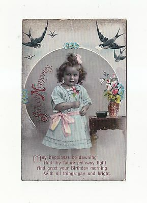 CHARMING POSTCARD OF A LITTLE GIRL IN A FRAME WITH BLUEBIRDWS ABOVE No. 4527