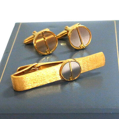 Authentic Dunhill Cufflinks & Tie Bar Clasp Clip Gold/Silver tone Set in Box