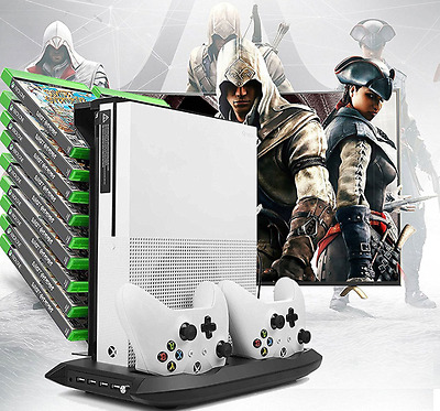 Xbox one s Stand Cooling Fan with Games Storage Charging Station & 4 USB ports