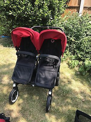 Bugaboo Donkey Black/Red Twin Bassinet and Seats includes extras