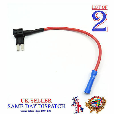 2x Add A Circuit Piggy Back Fuse Tap MICRO 2 Blade Holder 12V Car Motor Motoped