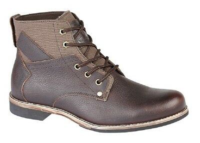 Mens Fashion Boots Woodland Leather 5 Eye Brown