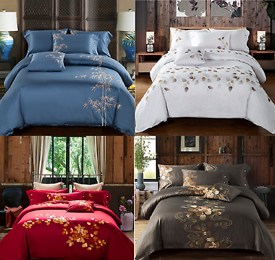 100%Egyptian Cotton Tencel Embroidered Duvet Cover Bedding Set High Quality 4Pcs