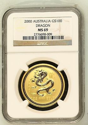 2000 1 oz Gold Year of the Dragon Lunar Coin (Series I) NGC MS-69