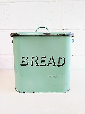 Authentic Retro/Industrial Style Enamel Bread Bin 50's/60's - Kitchenalia