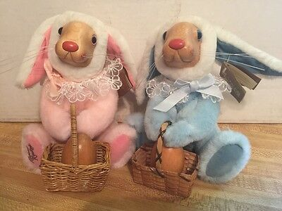 Raikes Wooden Face Bunnies with wooden Egg in Basket