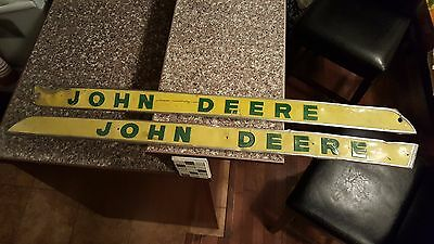 2 Metal Vintage John Deere Tractor Emblem Sign Aluminum Advertising Farm Green