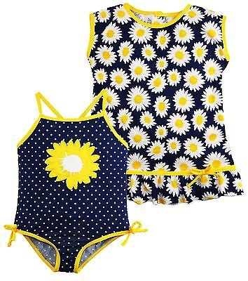 Wippette Toddler Girls Sunflower and Polka Dot 1Pc Swimsuit Dress CoverUp Set
