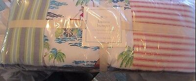 Pottery Barn Kids Lahaina surf surfing beach patchwork  Crib Bumper  New