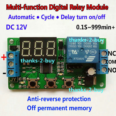 DC 12V LED Display Countdown Timing Timer Delay Time Cycle Off/On Relay Module