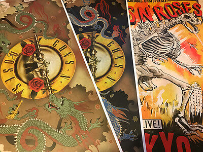 Rare Guns n' Roses Japan 2017 Saitama Limited Lithograph Poster 3 Set 1/28 1/29
