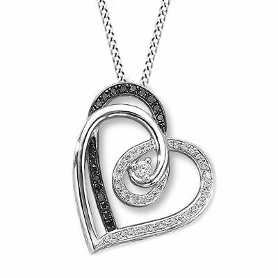 Holiday Sale Diamond Heart Necklace 1/4Ct Tw Black & White Sterling Silvers