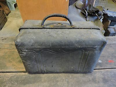Antique Black Leather Doctor Bag, House Decor, Victorian, Old, (VX)