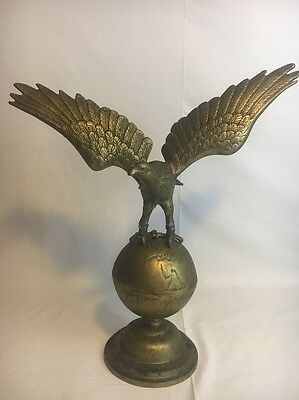 "Large Solid Brass Eagle on Globe 19"" x 21"""