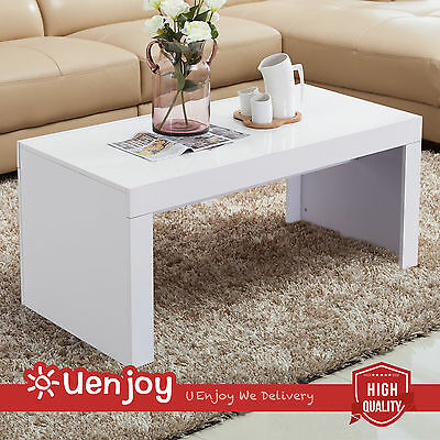White Square Coffee Table High Gloss Contemporary Modern Living Room Furniture