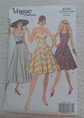 Vogue 8320 Retro Halter Sundress 50's look Rated Easy Sz 14-16-18