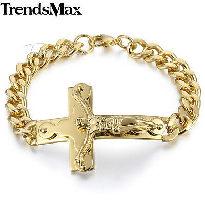 10mm Mens Chain Gold Stainless Steel 2-Layer Jesus Christ Cross Charm Bracelet