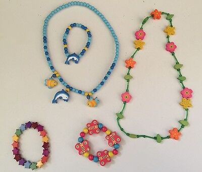 CHILDRENS' WOODEN JEWELLERY 2 NECKLACES 3 BRACELETS Butterfly Flower Excellent