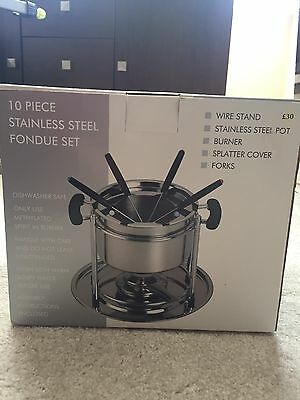 10 Piece Stainless Steel Fondue Set *new In Box*
