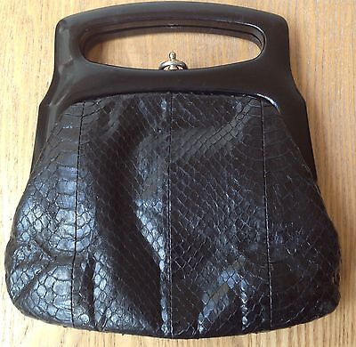 Authentic Fassbender Vintage Black Crocodile Framed Clutch Handbag