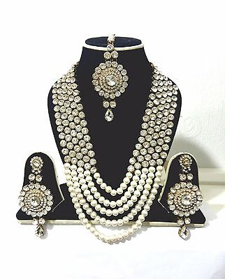 New Indian Costume Jewellery Necklace Set Gold Plate White Stones Pearl