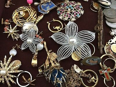 Old Vintage Junk Drawer Lot Fashion Jewelry Pins Earring Medals Religious Coins