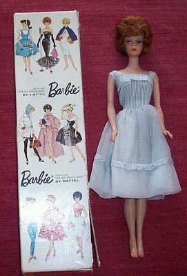 Vintage Barbie 1958 Teen Age Fashion Doll Mattel Stock 850 Bubble Cut Hair Box