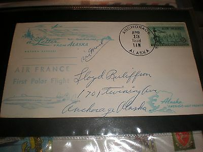 1958 Air France First Polar Flight Cover,anchorage Alaska Usa Airmail Post Mark