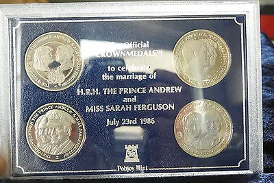 1986 Pobjoy mint four crown box set celebrating the marriage of Andrew and Sarah