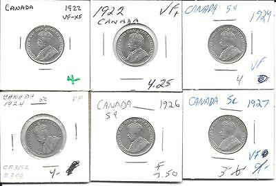 Lot of 6 coins Canada nickels dated in the 1920's nice