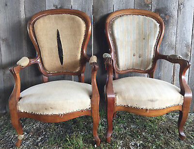 Pair of Antique Louis XV Style French Deconstructed Fruitwood Armchairs