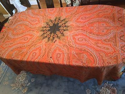 """ANTIQUE PAISLEY PIANO SHAWL - SCARF - TABLECLOTH - 72"""" x 72"""""""