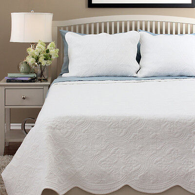 100% White fine stitched embroidery 3pc cotton bedspread queen set