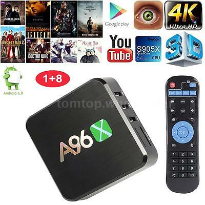 A96X Android 6.0 Smart TV Box S905X 4K Quad-Core 1G/8G WiFi HDR10 VP9 H.265 B8R8