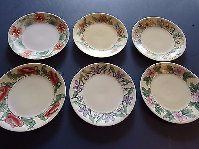 """6 D&c France Signed Floral 7 3/8"""" Hand Painted Plates 1910 - Maggie Whitley"""